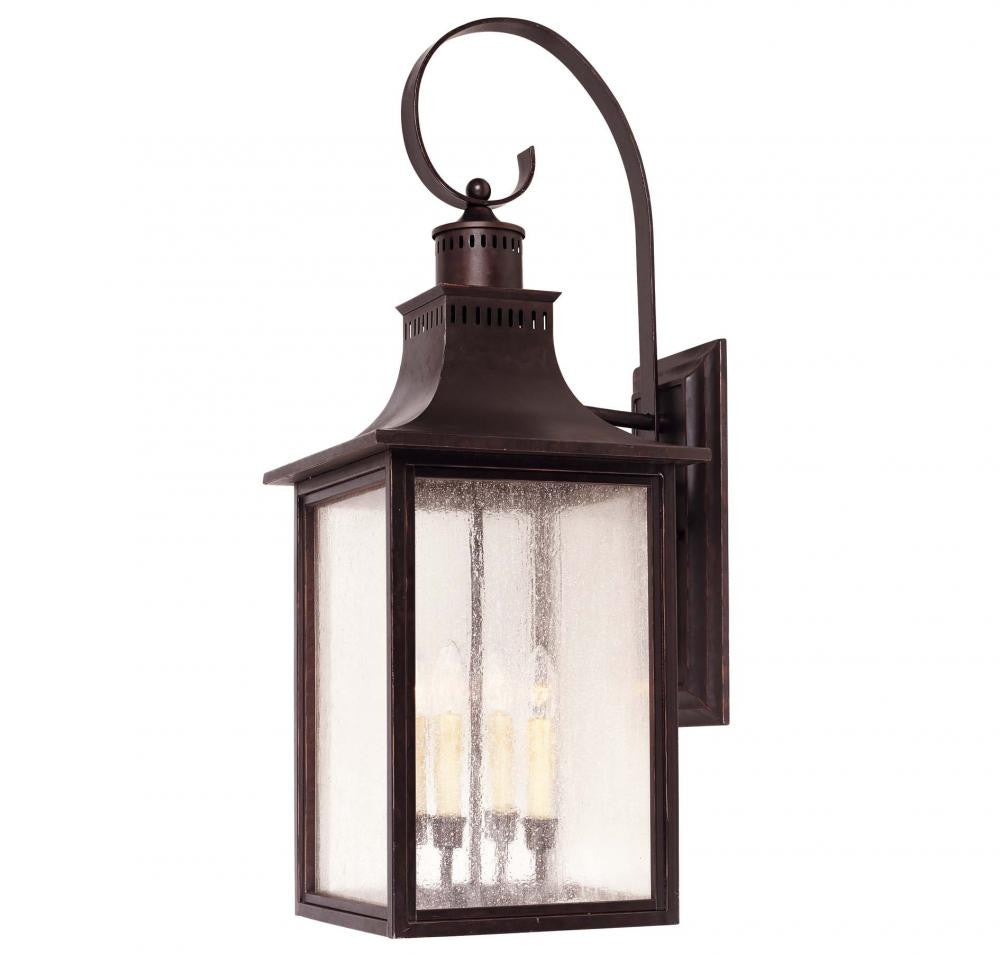 English Bronze Traditional Outdoor 4 Light Wall Sconce, Lighting, Laura of Pembroke