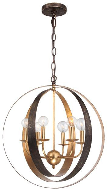 Bronze & Gold Sphere 6 Light Chandelier