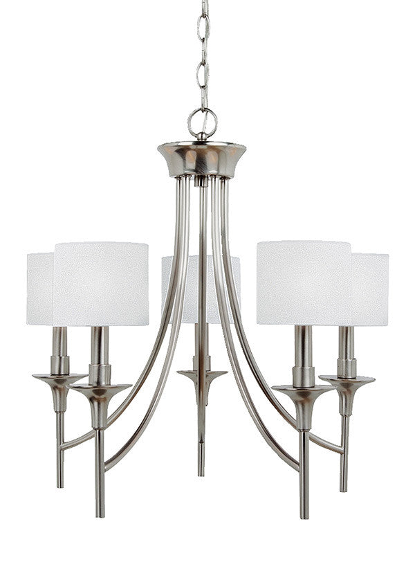 Brushed Nickel Modern Lines 5 Light Chandelier, Lighting, Laura of Pembroke