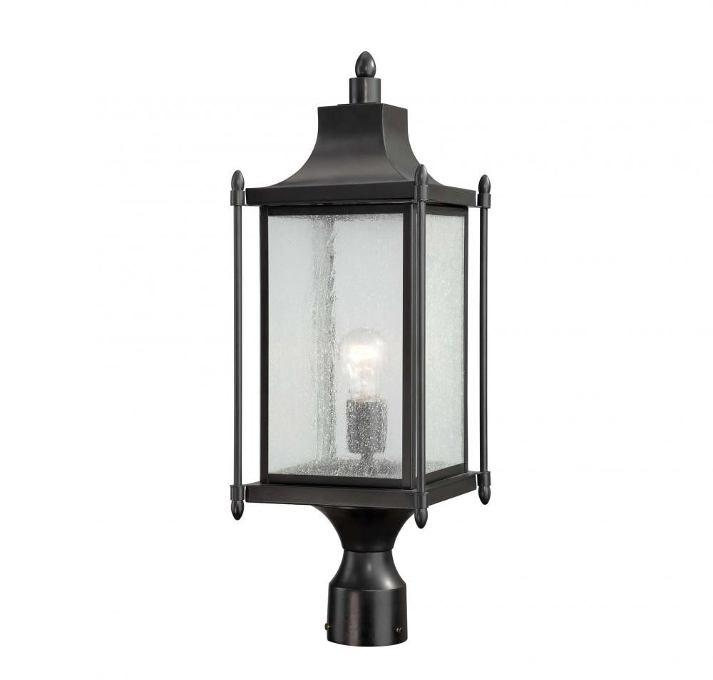 Black Transitional 1 Light Post Lantern