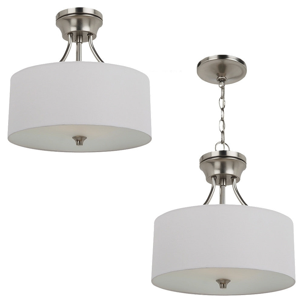 Brushed Nickel Modern Lines 2 Light Semi-Flush Convertible Pendant