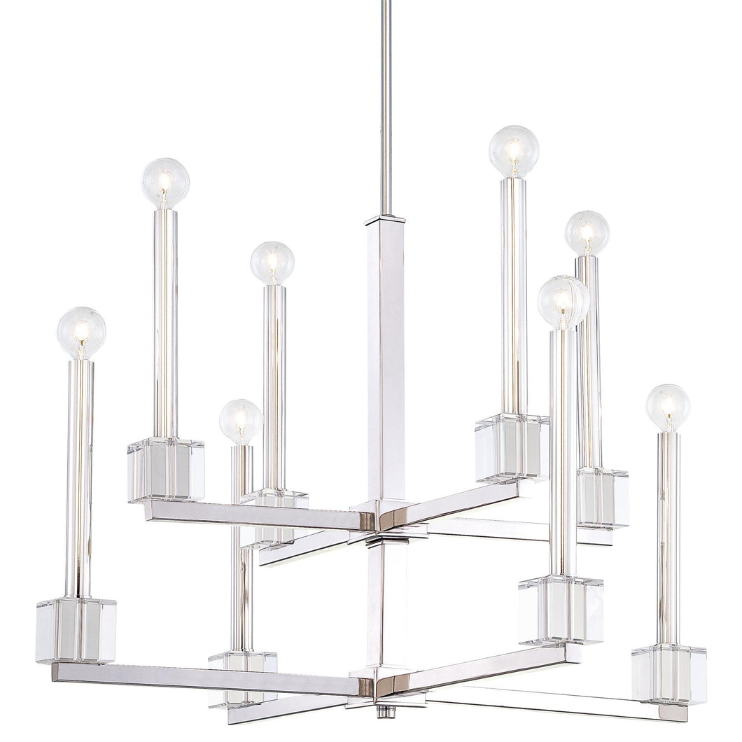 Two Tier Polished Nickel Chandelier
