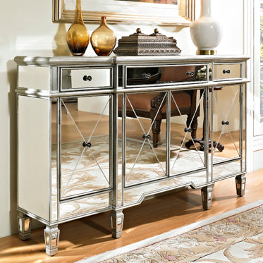 Mirrored 3-Drawer 4 Door Console