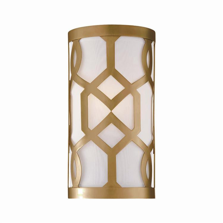 Geometric Aged Brass Sconce, Lighting, Laura of Pembroke