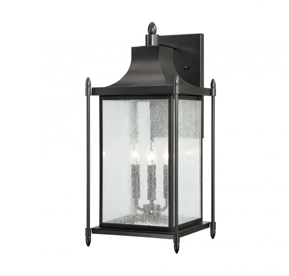 Black Transitional 3 Light Wall Lantern, Lighting, Laura of Pembroke