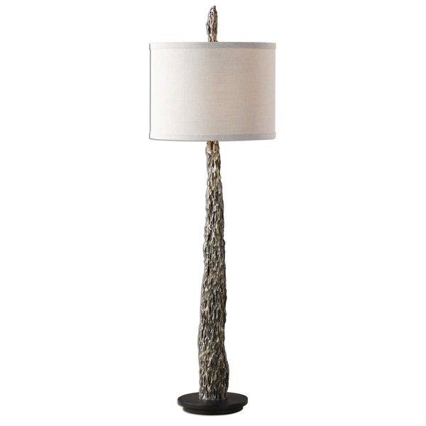 Metallic Silver Old Wood Buffet Lamp