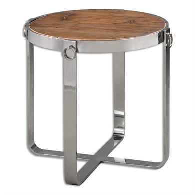 Stainless Steel Base with Wood Top Side Table 24