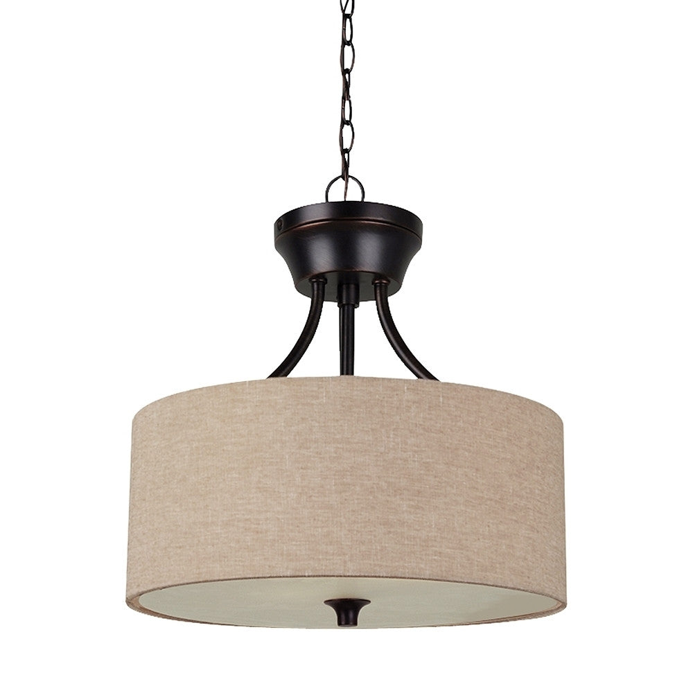 Burnt Sienna 2 Light Semi-Flush Convertible Pendant, Lighting, Laura of Pembroke