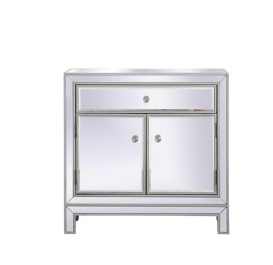 29 in. mirrored cabinet in antique silver