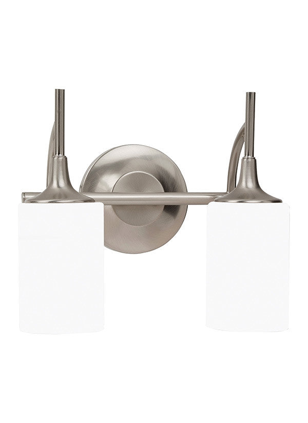 Brushed Nickel Modern Lines 2 Light Wall/Bath Light