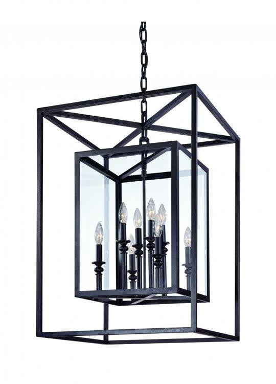 Deep Bronze Framed 8 Light Chandelier