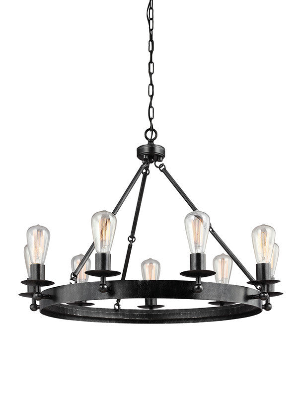Industrial 9 Light Chandelier