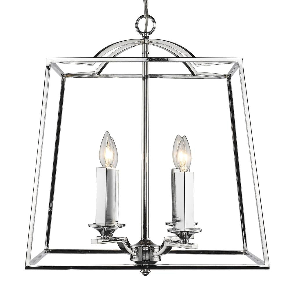 Polished Chrome Open Cage 4 Light Pendant, Lighting, Laura of Pembroke
