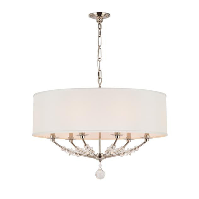 Polished Nickel Drum Shade 6 Light Chandelier, Lighting, Laura of Pembroke