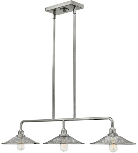 3 Light 40 inch Polished Nickel Linear Chandelier Ceiling Light