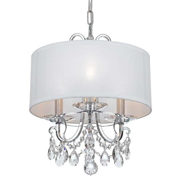 3 Light Clear Crystal Polished Chandelier, Lighting, Laura of Pembroke