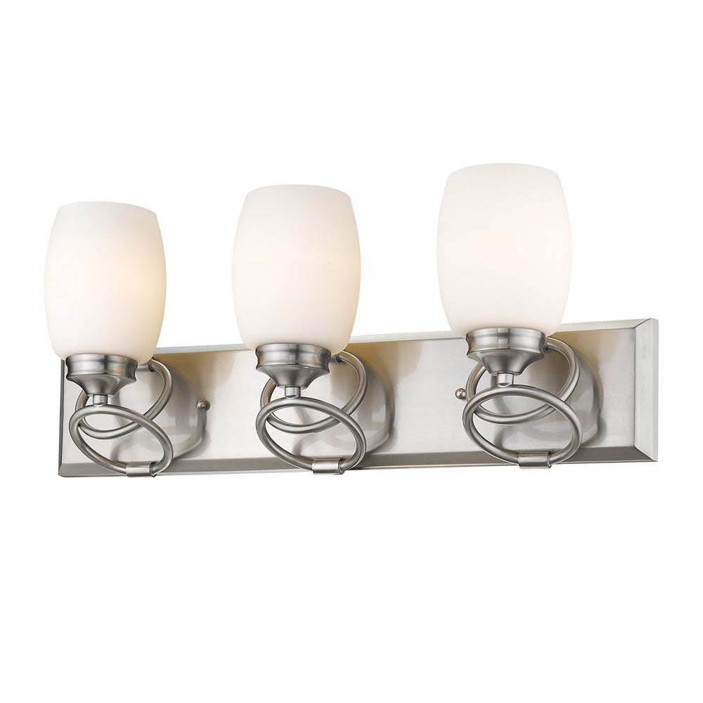 Cadence 3 Light Bath Vanity in Pewter with Opal Glass, Lighting, Laura of Pembroke