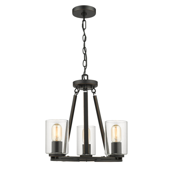 Monroe Convertible 3 Light Chandelier in Black with Clear Glass