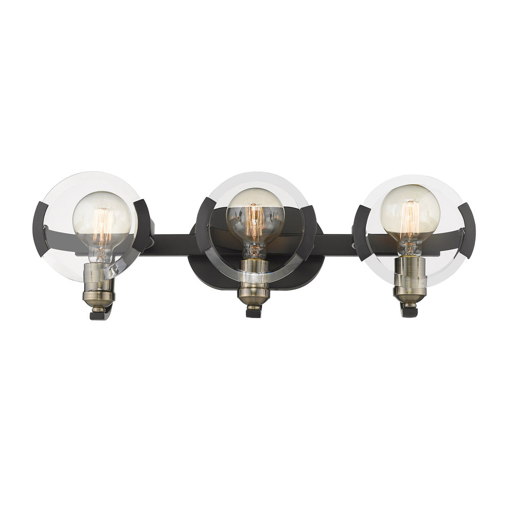 Amari 3 Light Bath Vanity in Black with Aged Brass Accents, Lighting, Laura of Pembroke
