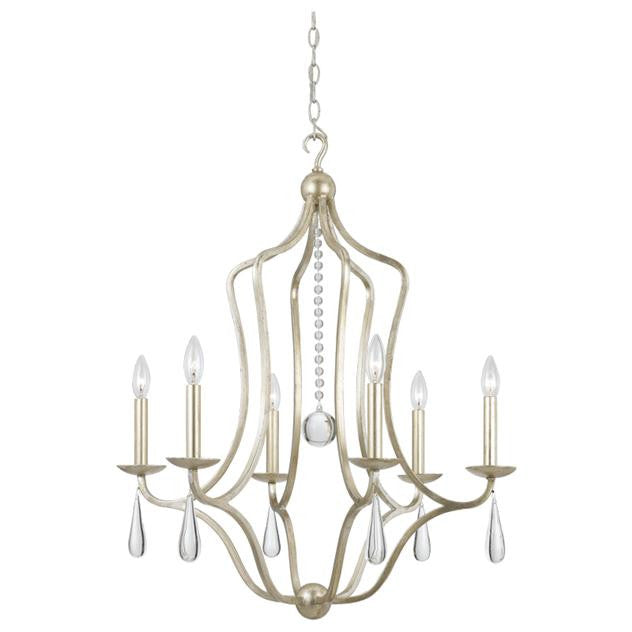 Silver Leaf Wrought Iron 6 Light Chandelier, Lighting, Laura of Pembroke