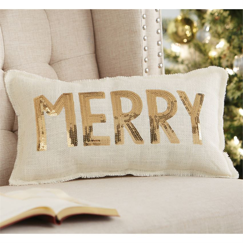 Glitter Merry Pillow, Gifts, Mud Pie, Laura of Pembroke