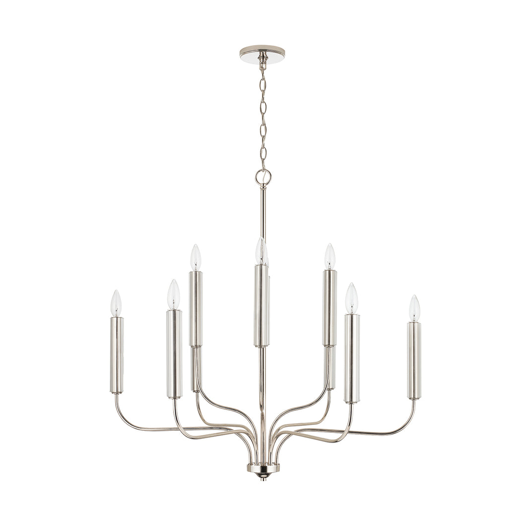 10 Light Polished Nickel Chandelier