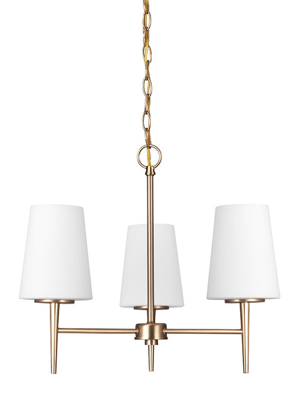 Etched White Glass Satin Bronze 3 Light Chandelier, Lighting, Laura of Pembroke