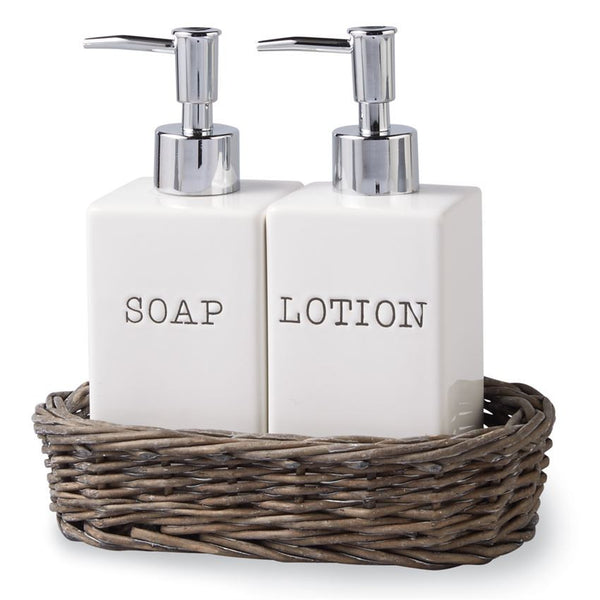 Soap & Lotion Willow Basket Set