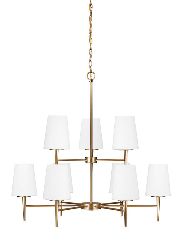 Etched White Glass Satin Bronze 9 Light Chandelier, Lighting, Laura of Pembroke
