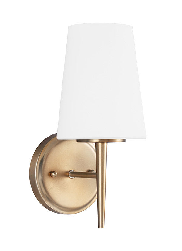 Etched White Glass Satin Bronze Sconce, Lighting, Laura of Pembroke