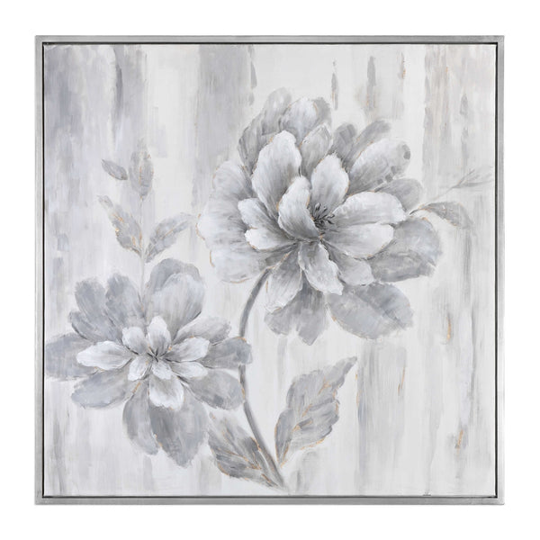 Silver Leaf Floral Painting