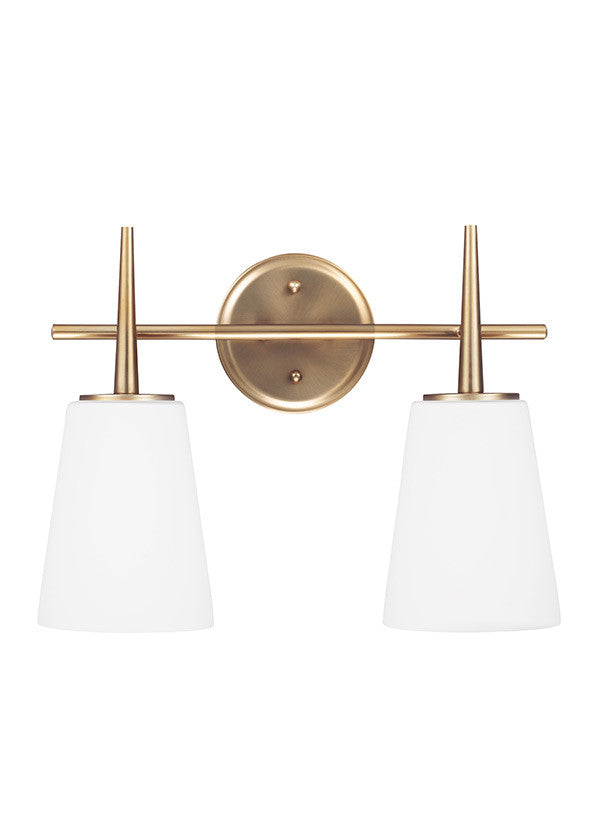 Etched White Glass Satin Bronze 2 Light Wall/Bath Light, Lighting, Laura of Pembroke