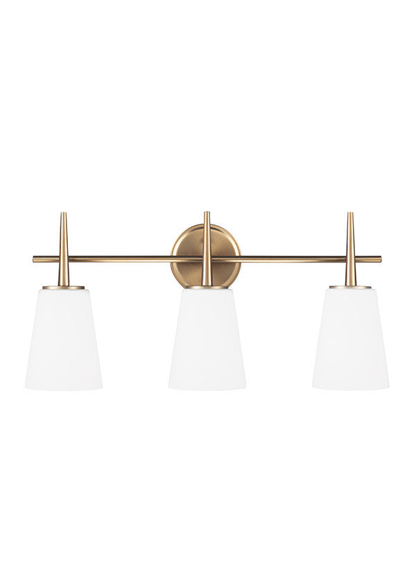 Etched White Glass Satin Bronze 3 Light Wall/Bath Light