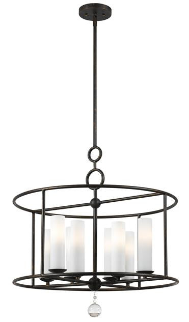 Circle Detail Wrought Iron 8 Light Chandelier