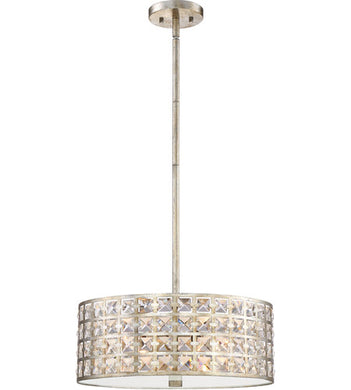 4 Light 17 inch Vintage Gold Pendant Ceiling Light