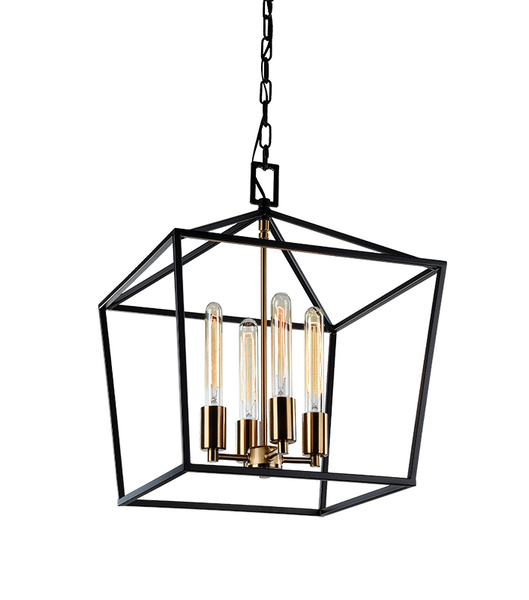 Rusty Black + Aged Gold Brass 4 Light Pendant