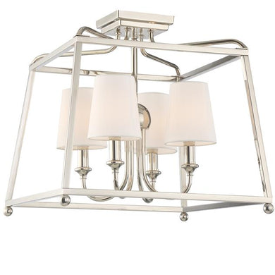 4 Light Polished Nickel Ceiling Mount, Lighting, Laura of Pembroke