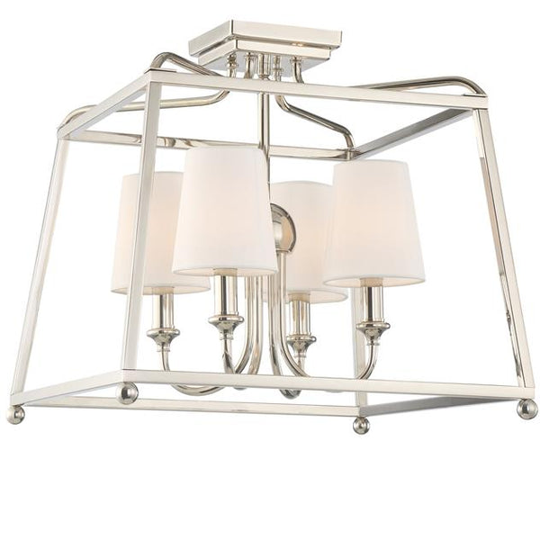4 Light Polished Nickel Ceiling Mount