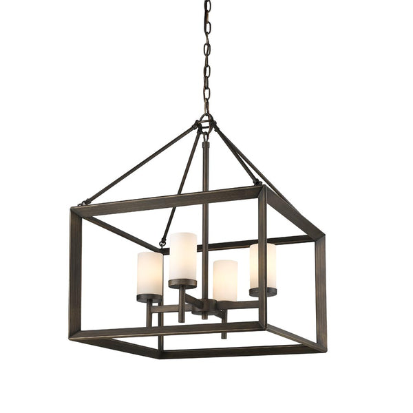Smyth 4 Light Chandelier in Gunmetal Bronze with Opal Glass
