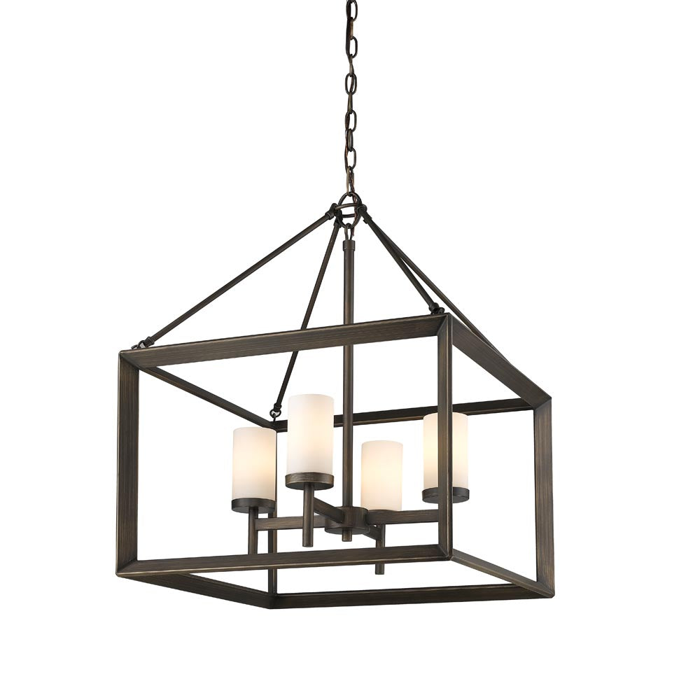 Smyth 4 Light Chandelier in Gunmetal Bronze with Opal Glass, Lighting, Laura of Pembroke
