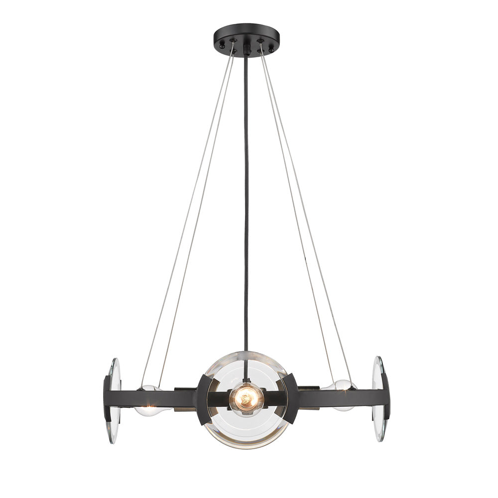 Amari 4 Light Chandelier in Black with Aged Brass Accents, Lighting, Laura of Pembroke