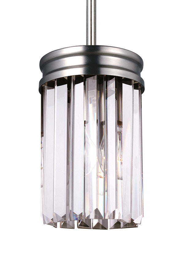 Antique Brushed Nickel Linear Glass Crystal Mini Pendant