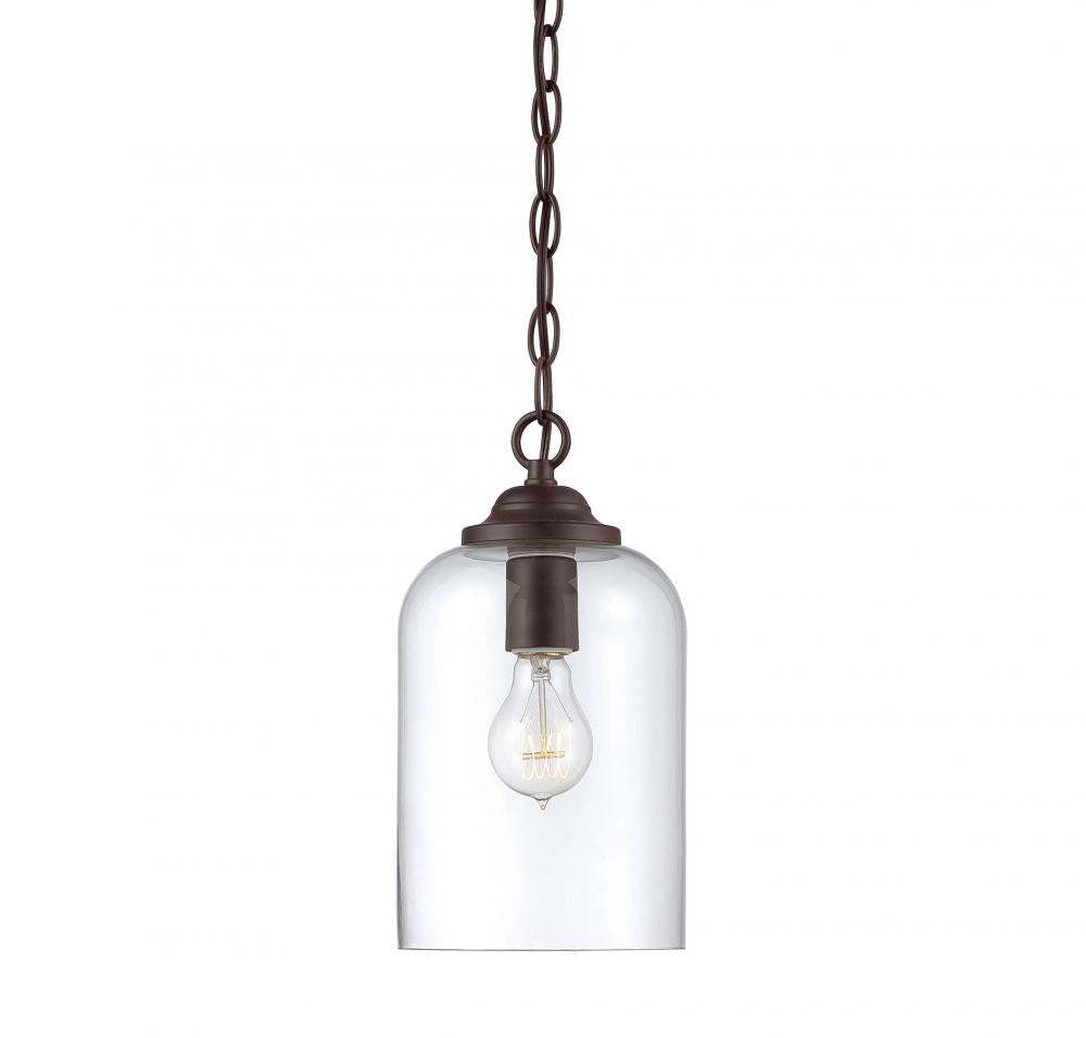 English Bronze Clear 1 Light Pendant