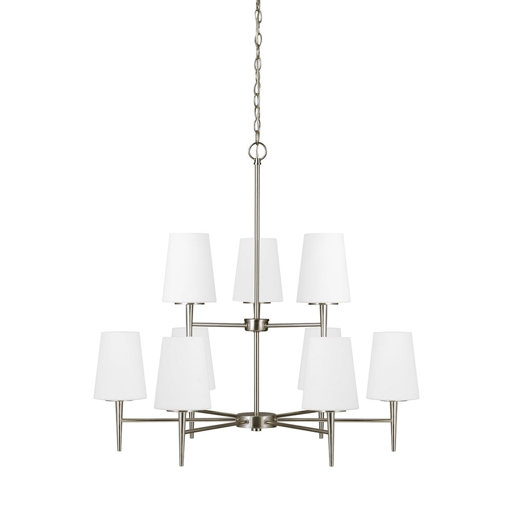 Etched White Glass 9 Light Brushed Nickel Chandelier, Lighting, Laura of Pembroke