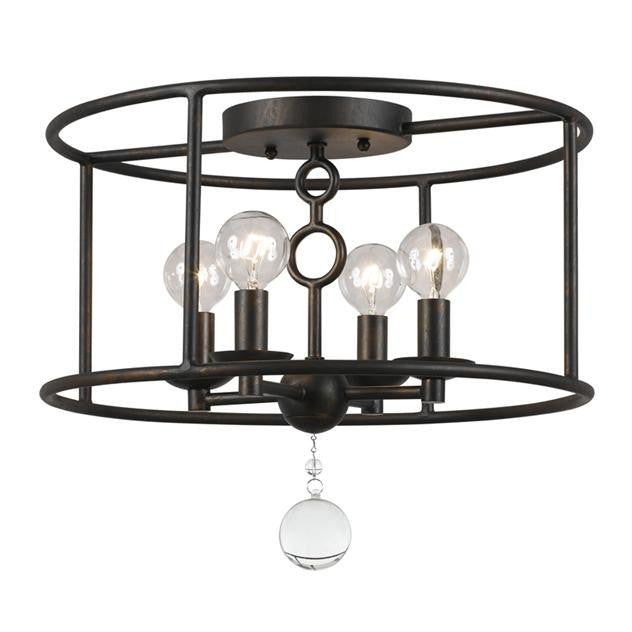 Circle Detail Bronze 4 Light Semi-Flush, Lighting, Laura of Pembroke