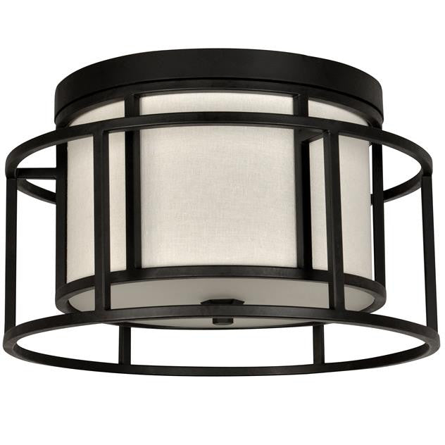 Matte Black Cage 2 Light Hulton Ceiling Mount, Lighting, Laura of Pembroke