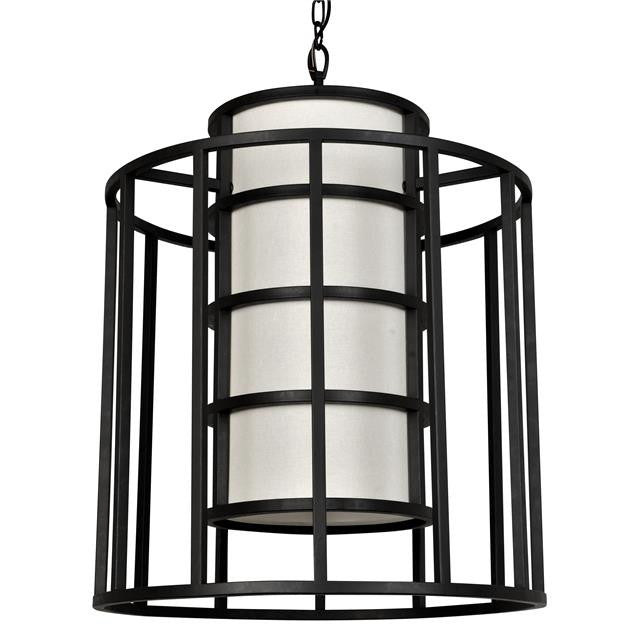 Matte Black Cage 6 Light Chandelier