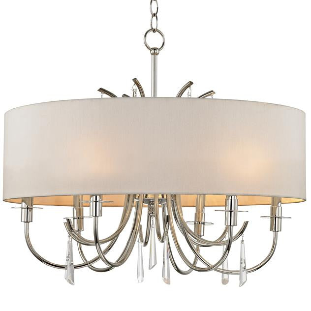 Polished Nickel 6 Light with Hanging Crystals Chandelier, Lighting, Laura of Pembroke