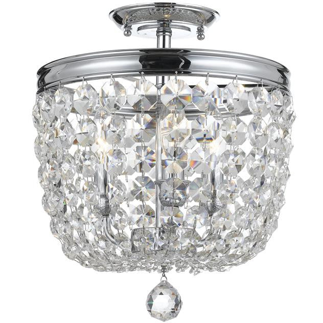 3 Light Swarovski Polished Chrome Ceiling Mount