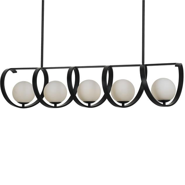 5 Light Matte Black Chandelier, Lighting, Laura of Pembroke
